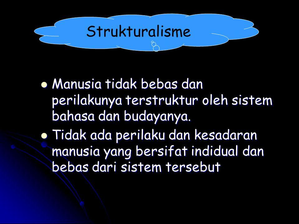 Strukturalisme Manusia tidak bebas dan perilakunya terstruktur oleh sistem bahasa dan budayanya.