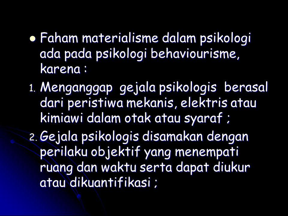 Faham materialisme dalam psikologi ada pada psikologi behaviourisme, karena :