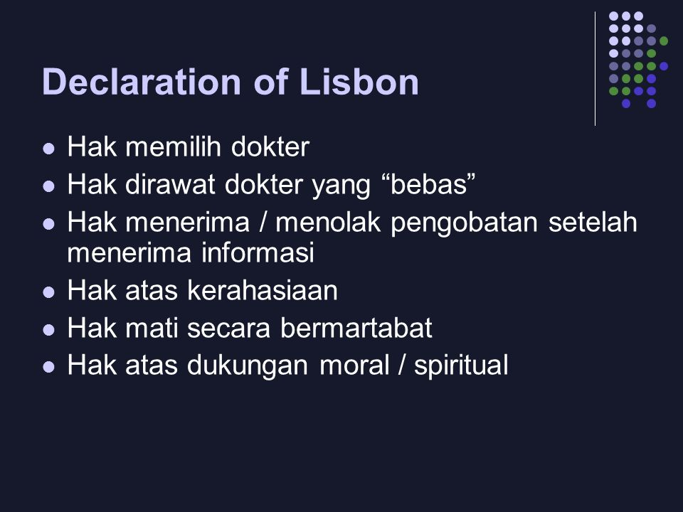 Declaration of Lisbon Hak memilih dokter