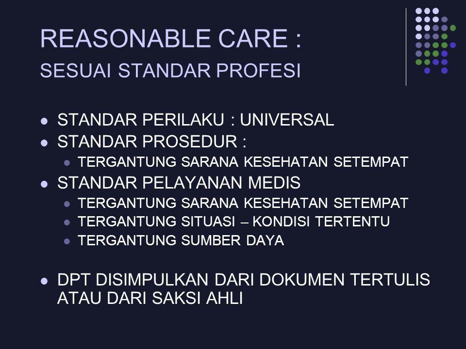 REASONABLE CARE : SESUAI STANDAR PROFESI