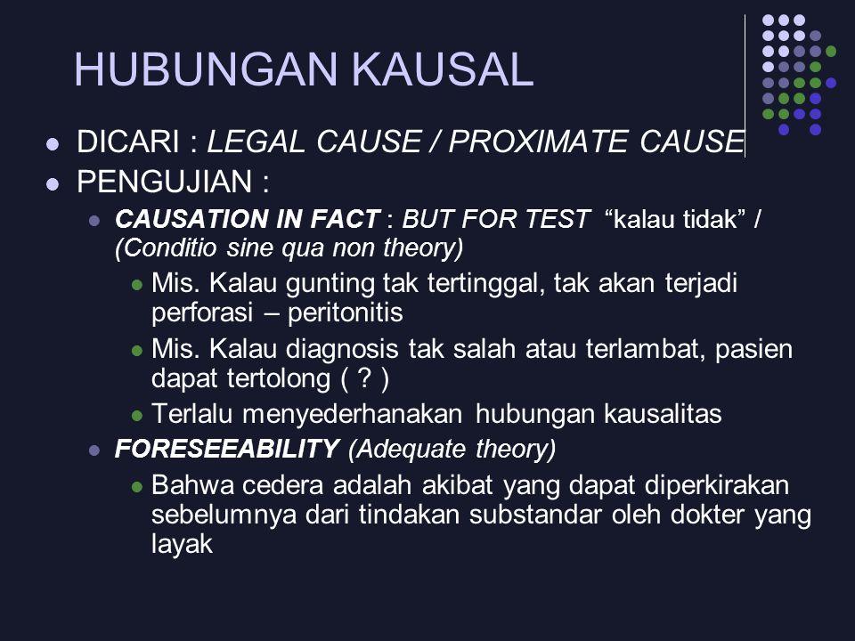 HUBUNGAN KAUSAL DICARI : LEGAL CAUSE / PROXIMATE CAUSE PENGUJIAN :