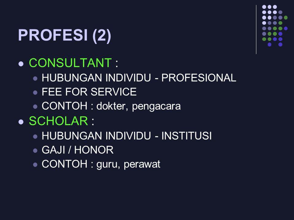 PROFESI (2) CONSULTANT : SCHOLAR : HUBUNGAN INDIVIDU - PROFESIONAL