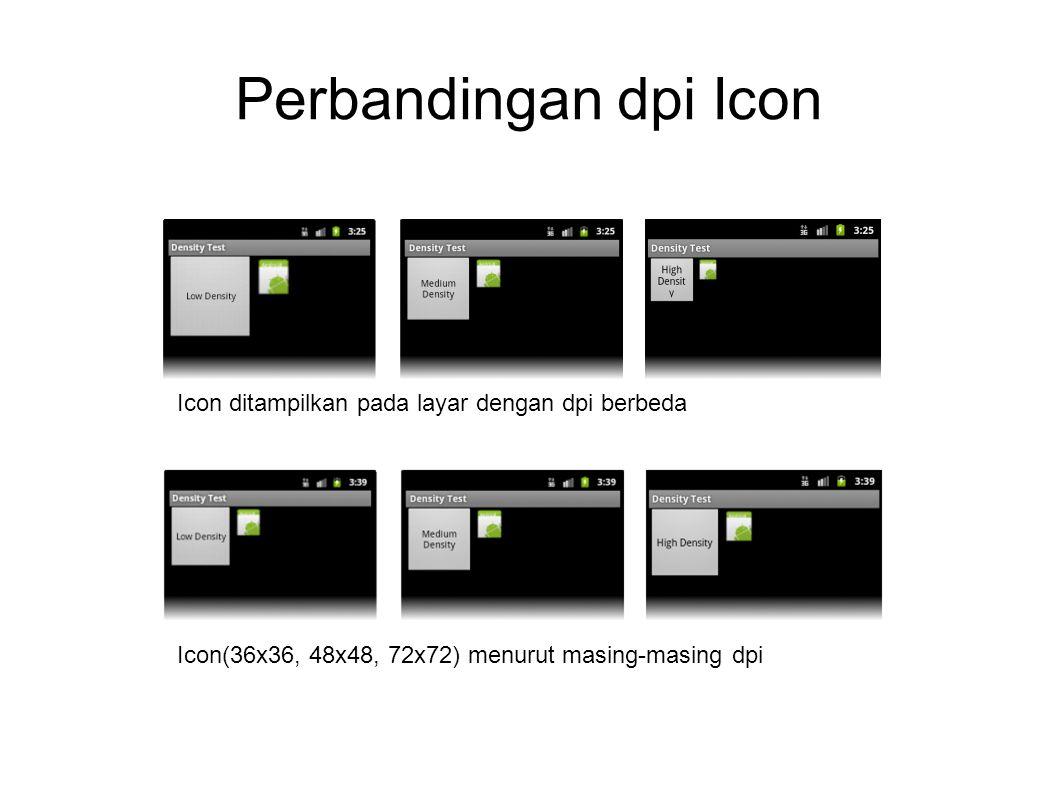 Perbandingan dpi Icon Icon ditampilkan pada layar dengan dpi berbeda