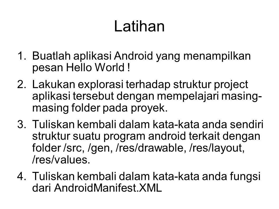 Latihan Buatlah aplikasi Android yang menampilkan pesan Hello World !