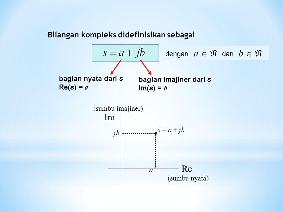 Im Re Bilangan kompleks didefinisikan sebagai dengan a   dan b  