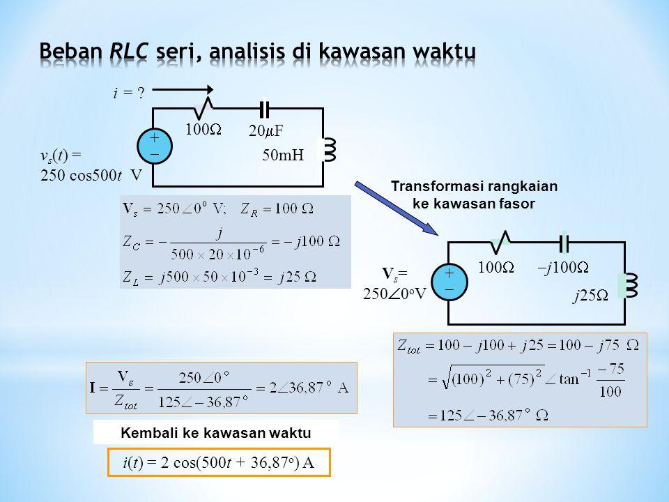Beban RLC seri, analisis di kawasan waktu
