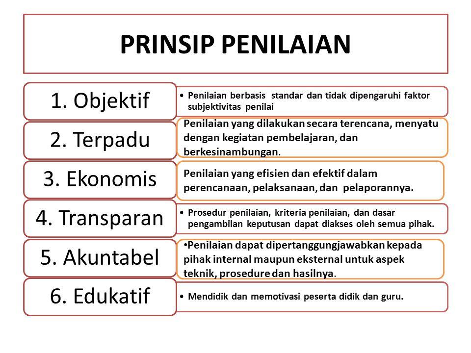 PRINSIP PENILAIAN 1. Objektif 2. Terpadu 3. Ekonomis 4. Transparan