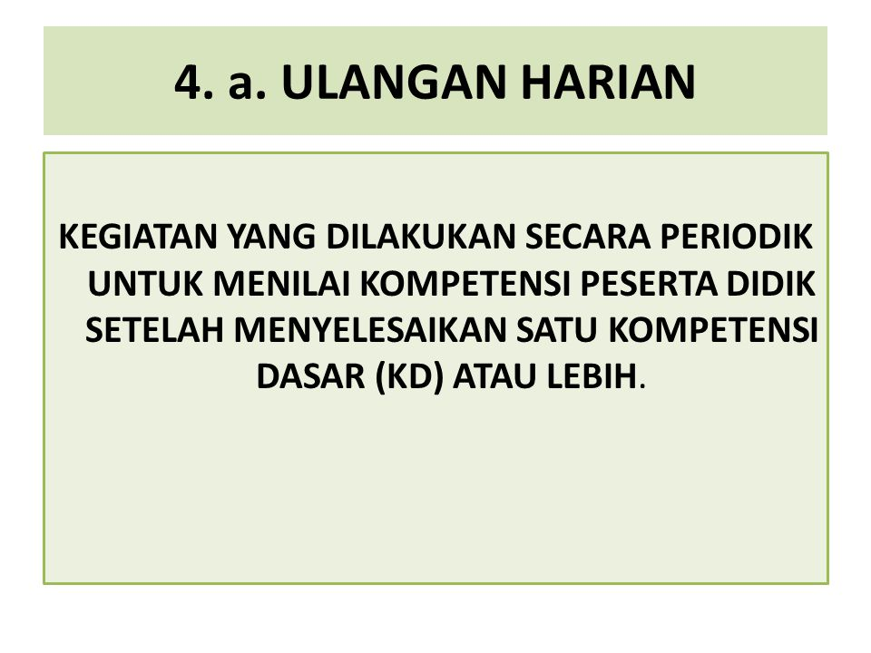 4. a. ULANGAN HARIAN