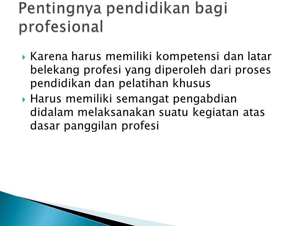 Pentingnya pendidikan bagi profesional