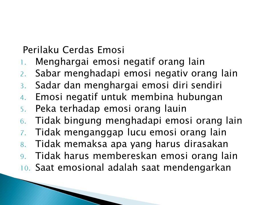 Perilaku Cerdas Emosi Menghargai emosi negatif orang lain. Sabar menghadapi emosi negativ orang lain.