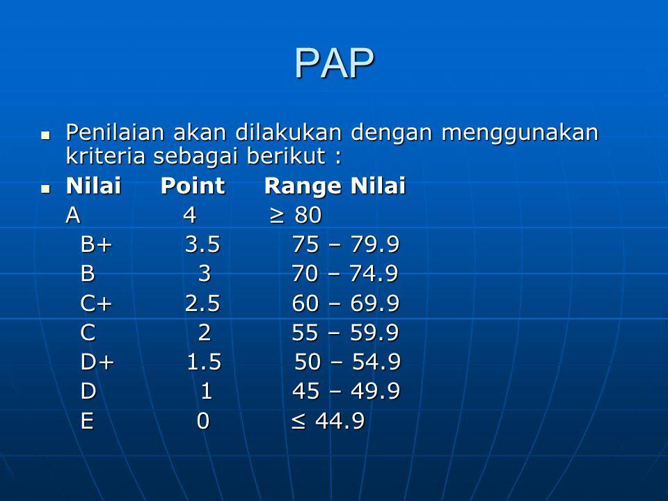 PAP Penilaian akan dilakukan dengan menggunakan kriteria sebagai berikut : Nilai Point Range Nilai.