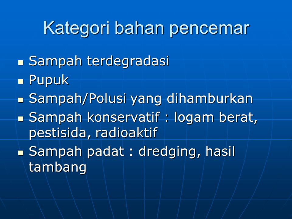 Kategori bahan pencemar