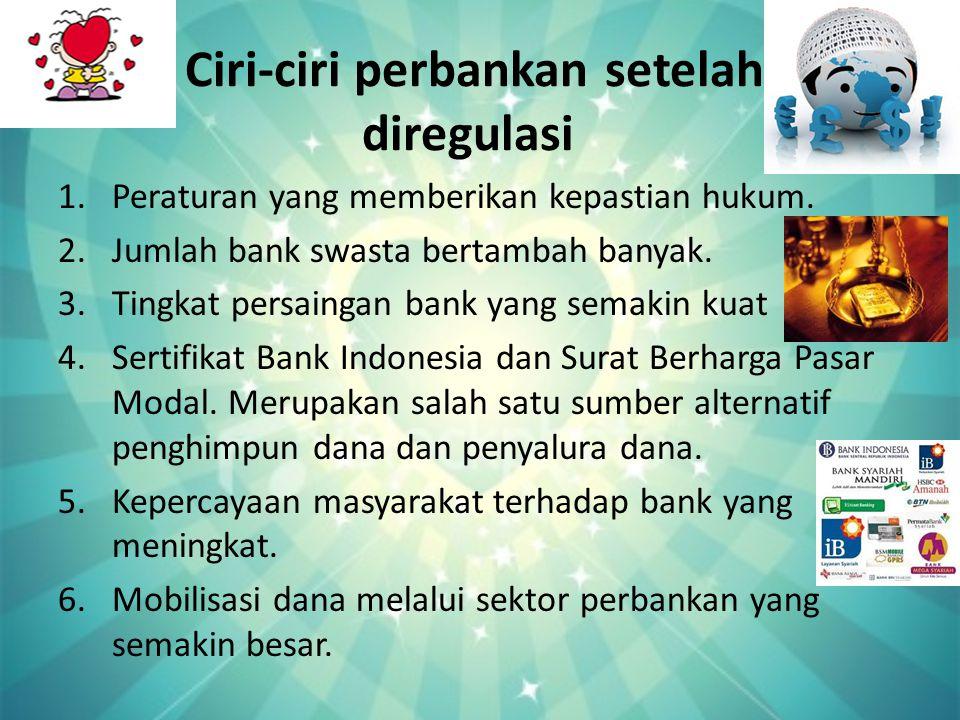 Ciri-ciri perbankan setelah diregulasi