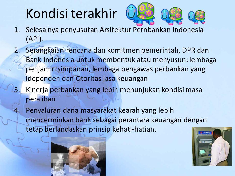 Kondisi terakhir Selesainya penyusutan Arsitektur Pernbankan Indonesia (API).