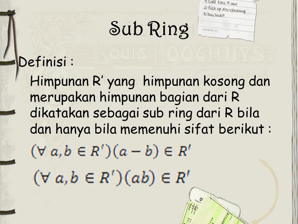 Sub Ring Definisi :