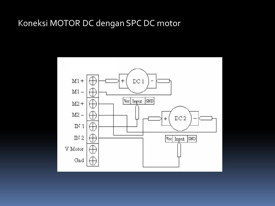 Koneksi MOTOR DC dengan SPC DC motor