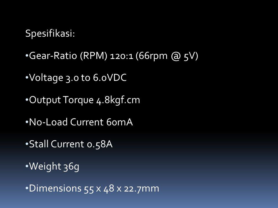 Spesifikasi: Gear-Ratio (RPM) 120:1 (66rpm @ 5V) Voltage 3.0 to 6.0VDC. Output Torque 4.8kgf.cm. No-Load Current 60mA.