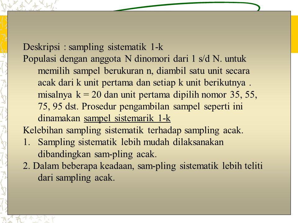 Deskripsi : sampling sistematik 1-k