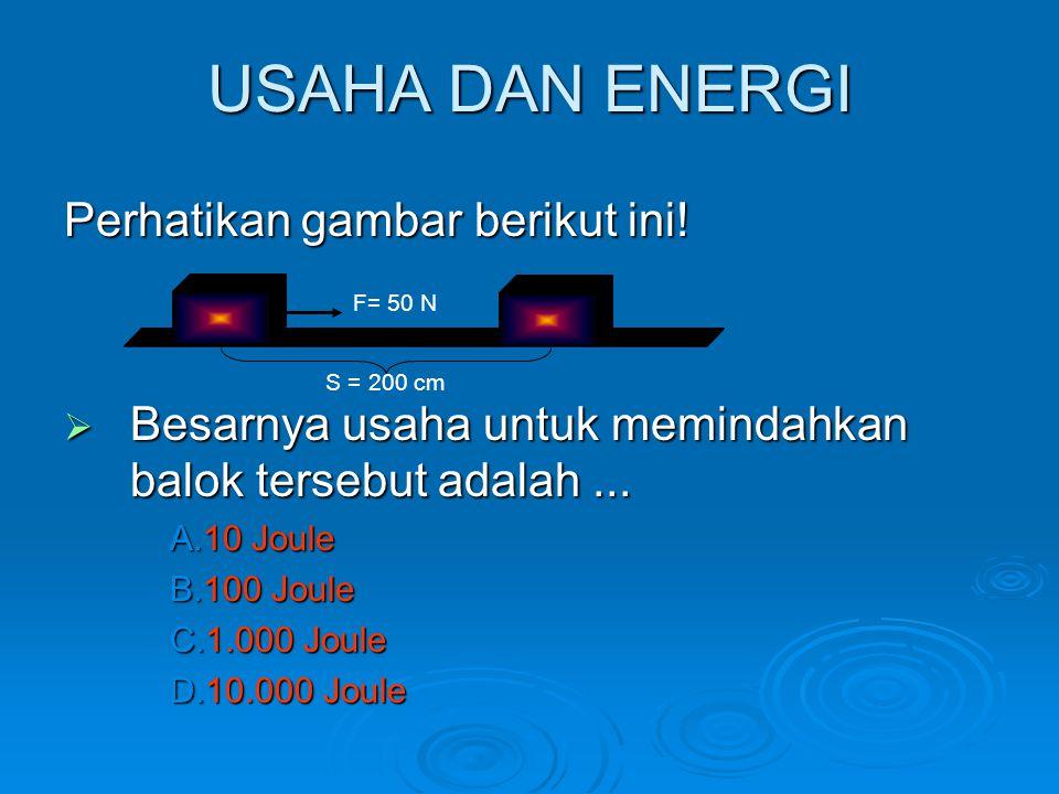 USAHA DAN ENERGI Perhatikan gambar berikut ini!