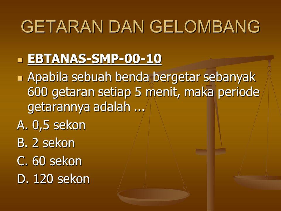 GETARAN DAN GELOMBANG EBTANAS-SMP-00-10