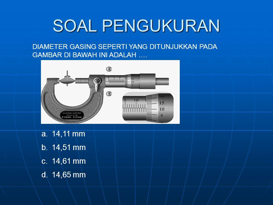 SOAL PENGUKURAN 14,11 mm 14,51 mm 14,61 mm 14,65 mm