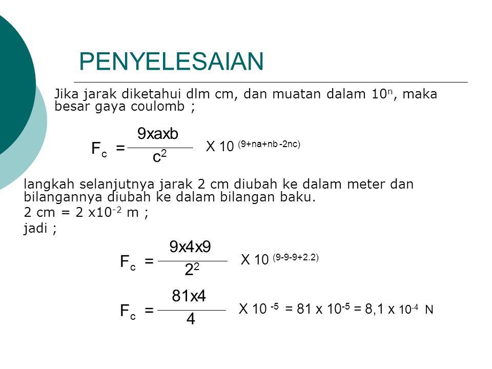 PENYELESAIAN 9xaxb Fc = c2 9x4x9 Fc = 22 81x4 Fc = 4