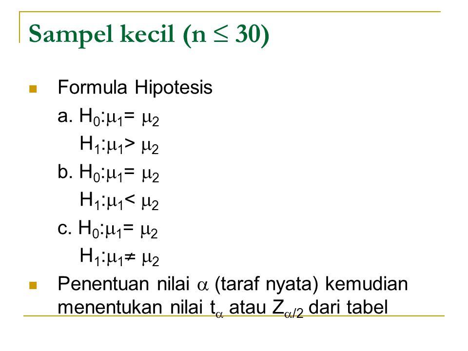 Sampel kecil (n ≤ 30) Formula Hipotesis a. H0:1= 2 H1:1> 2
