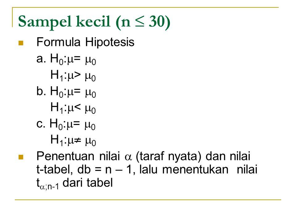 Sampel kecil (n ≤ 30) Formula Hipotesis a. H0:= 0 H1:> 0