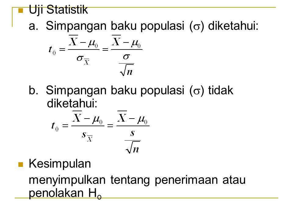 Uji Statistik a. Simpangan baku populasi () diketahui: b. Simpangan baku populasi () tidak diketahui: