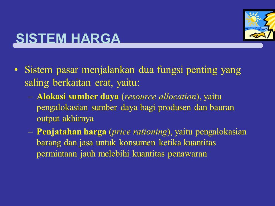 SISTEM HARGA Sistem pasar menjalankan dua fungsi penting yang saling berkaitan erat, yaitu: