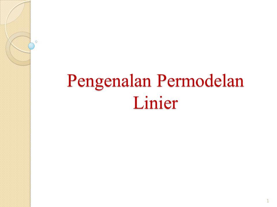 Pengenalan Permodelan Linier