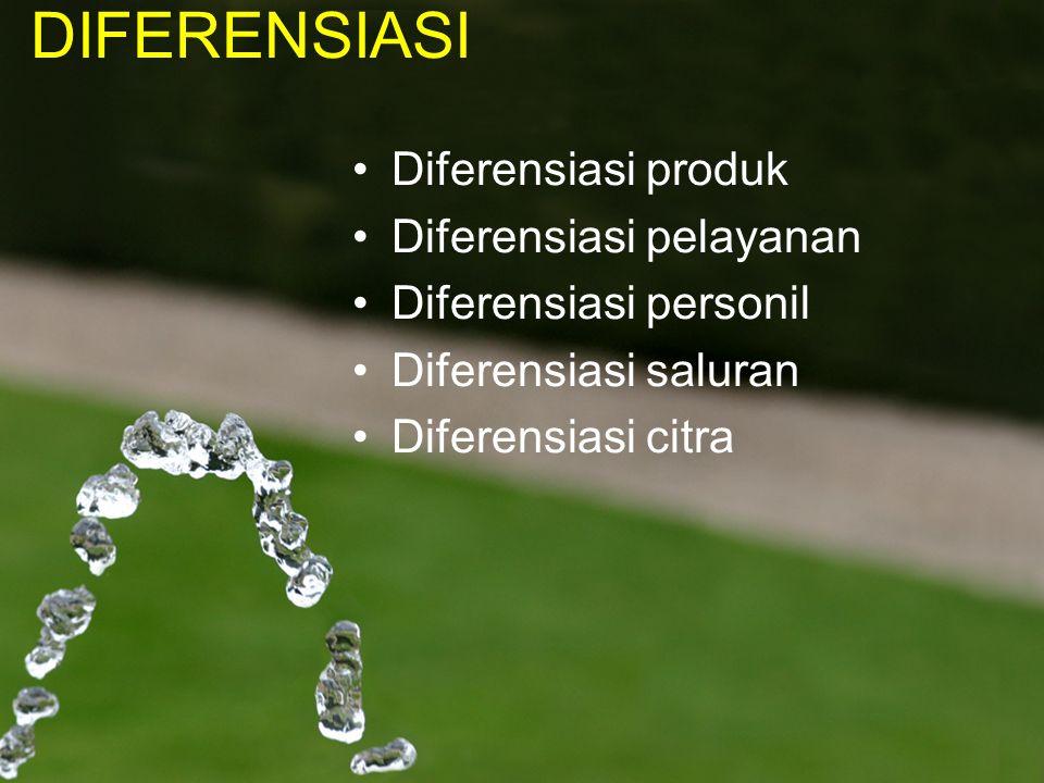 DIFERENSIASI Diferensiasi produk Diferensiasi pelayanan
