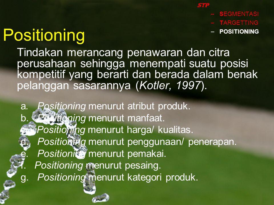 STP SEGMENTASI. TARGETTING. POSITIONING. Positioning.