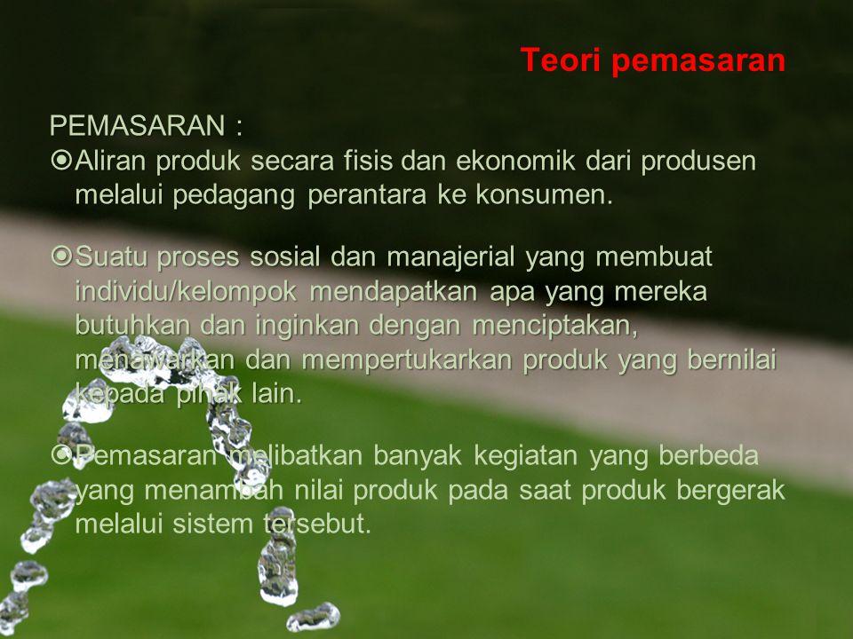 Teori pemasaran PEMASARAN :