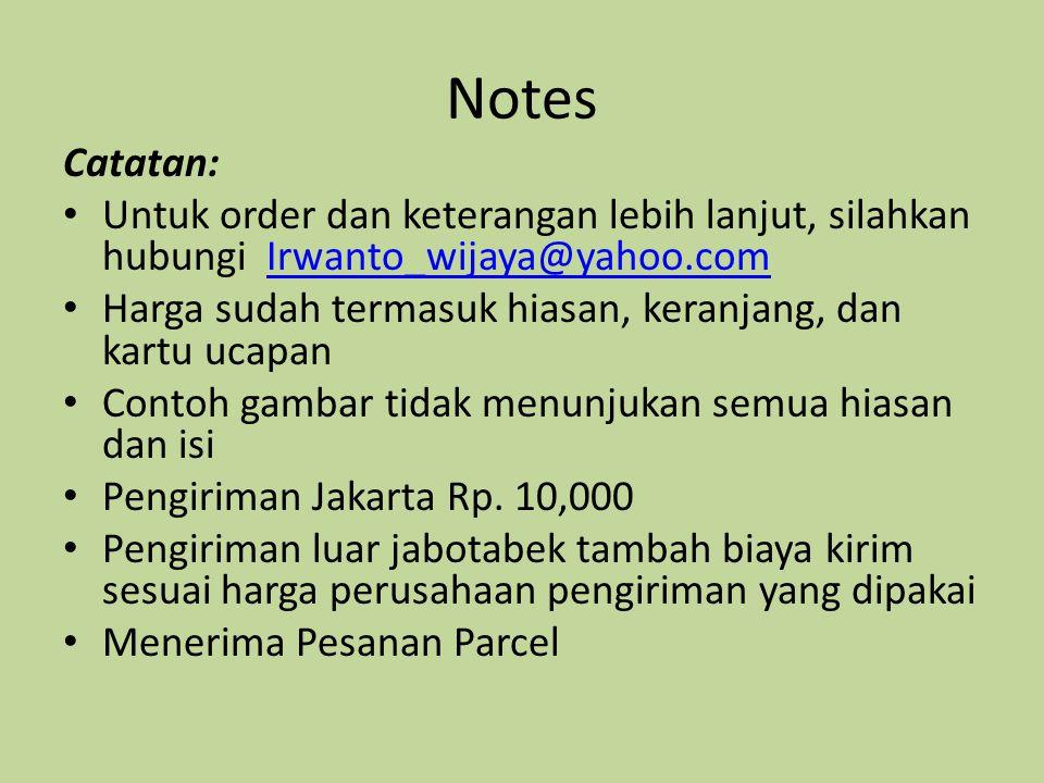 Notes Catatan: Untuk order dan keterangan lebih lanjut, silahkan hubungi Irwanto_wijaya@yahoo.com.
