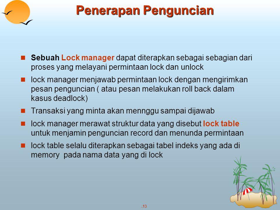 Penerapan Penguncian Sebuah Lock manager dapat diterapkan sebagai sebagian dari proses yang melayani permintaan lock dan unlock.