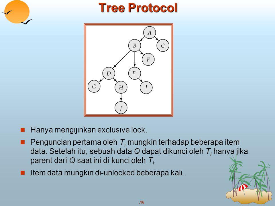 Tree Protocol Hanya mengijinkan exclusive lock.