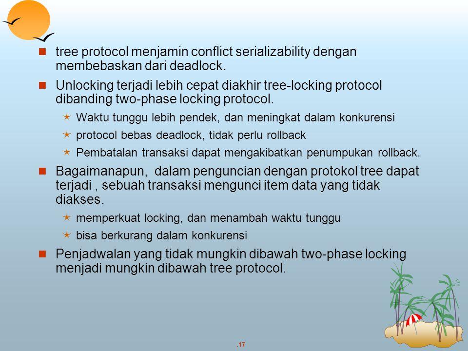 tree protocol menjamin conflict serializability dengan membebaskan dari deadlock.