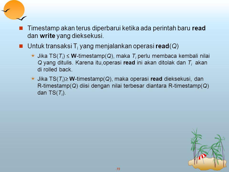 Untuk transaksi Ti yang menjalankan operasi read(Q)