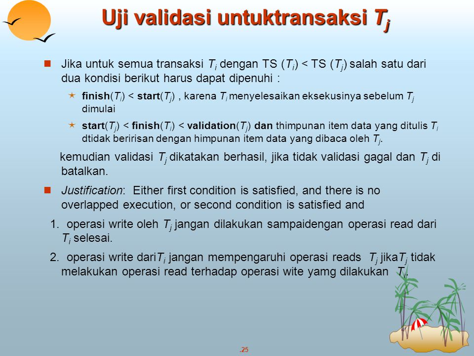 Uji validasi untuktransaksi Tj
