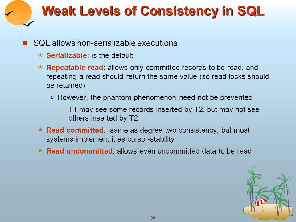 Weak Levels of Consistency in SQL