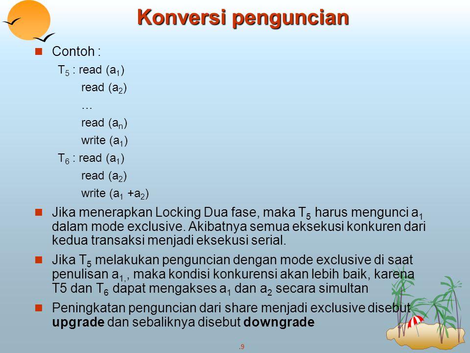 Konversi penguncian Contoh :