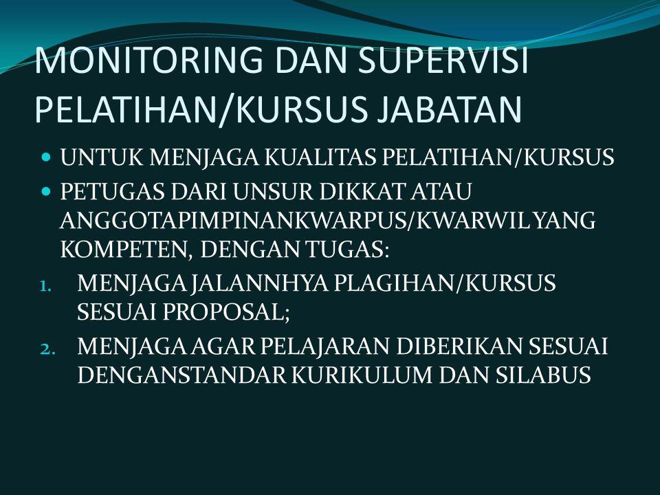 MONITORING DAN SUPERVISI PELATIHAN/KURSUS JABATAN