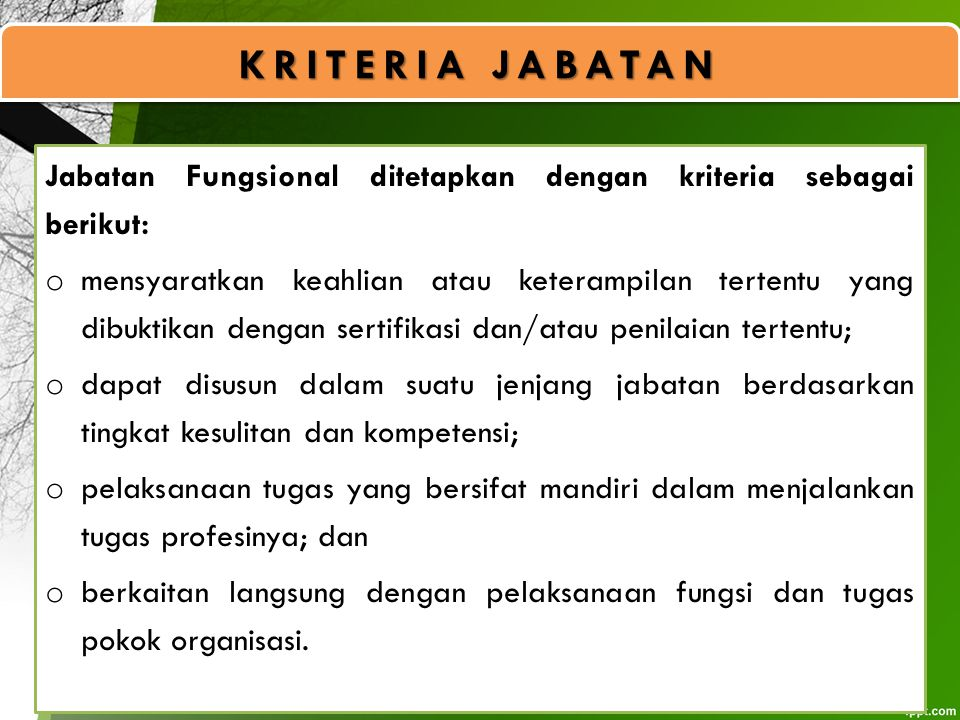 KRITERIA JABATAN Jabatan Fungsional ditetapkan dengan kriteria sebagai berikut: