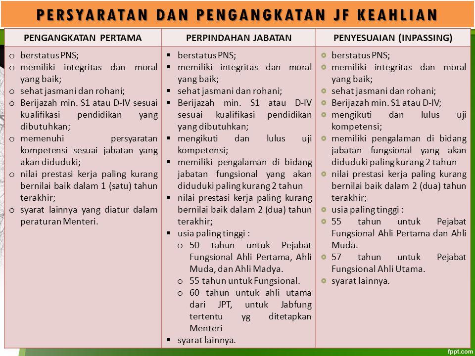 PERSYARATAN DAN PENGANGKATAN JF KEAHLIAN PENYESUAIAN (INPASSING)