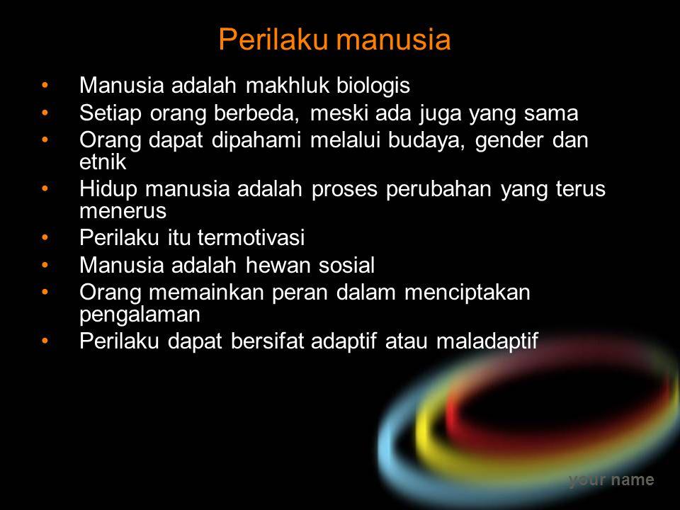 Perilaku manusia Manusia adalah makhluk biologis