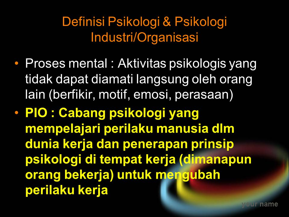 Definisi Psikologi & Psikologi Industri/Organisasi