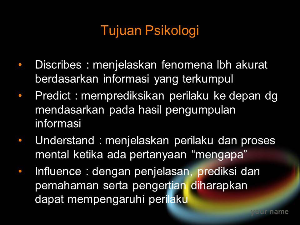 Tujuan Psikologi Discribes : menjelaskan fenomena lbh akurat berdasarkan informasi yang terkumpul.