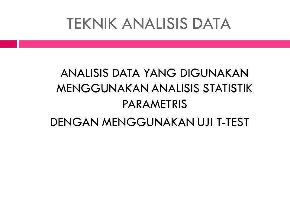 TEKNIK ANALISIS DATA ANALISIS DATA YANG DIGUNAKAN MENGGUNAKAN ANALISIS STATISTIK PARAMETRIS.