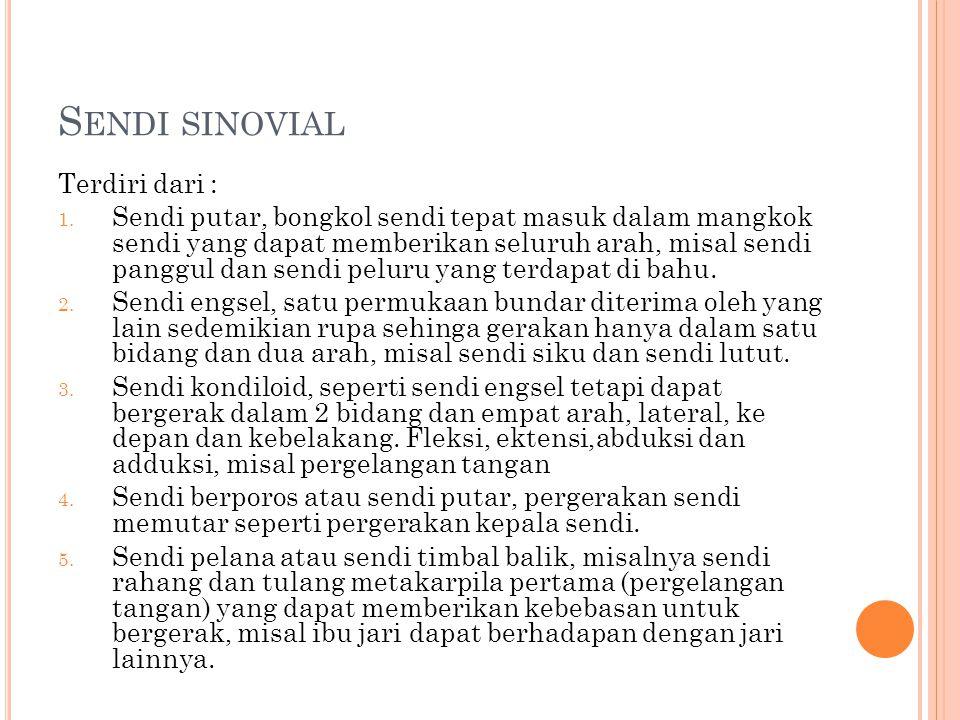 Sendi sinovial Terdiri dari :
